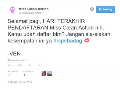 Miss Clean Action registration