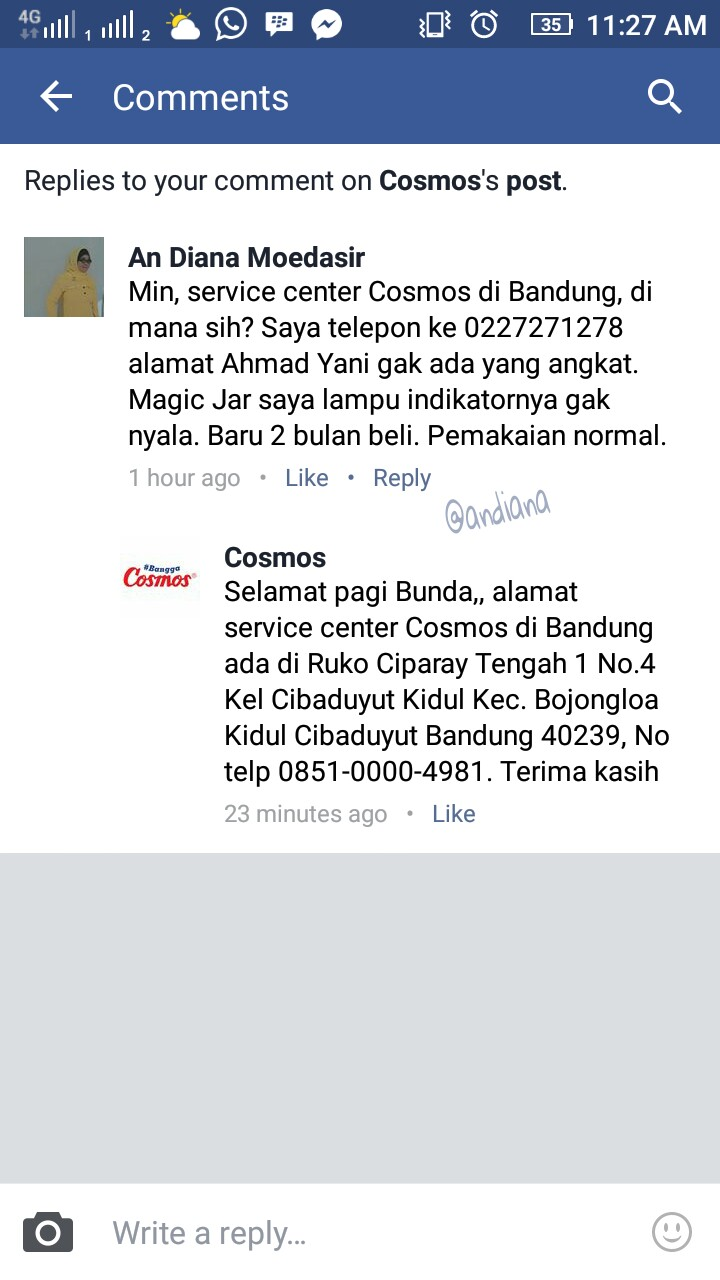 Facebook page Cosmos Indonesia
